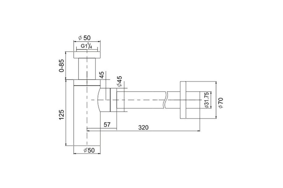 Design sifon BE-I200CO koper 1¼