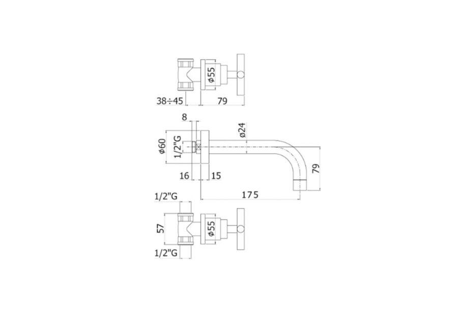 Paffoni Quattro 3-gats inbouwwandkraan sprong 175 mm chroom