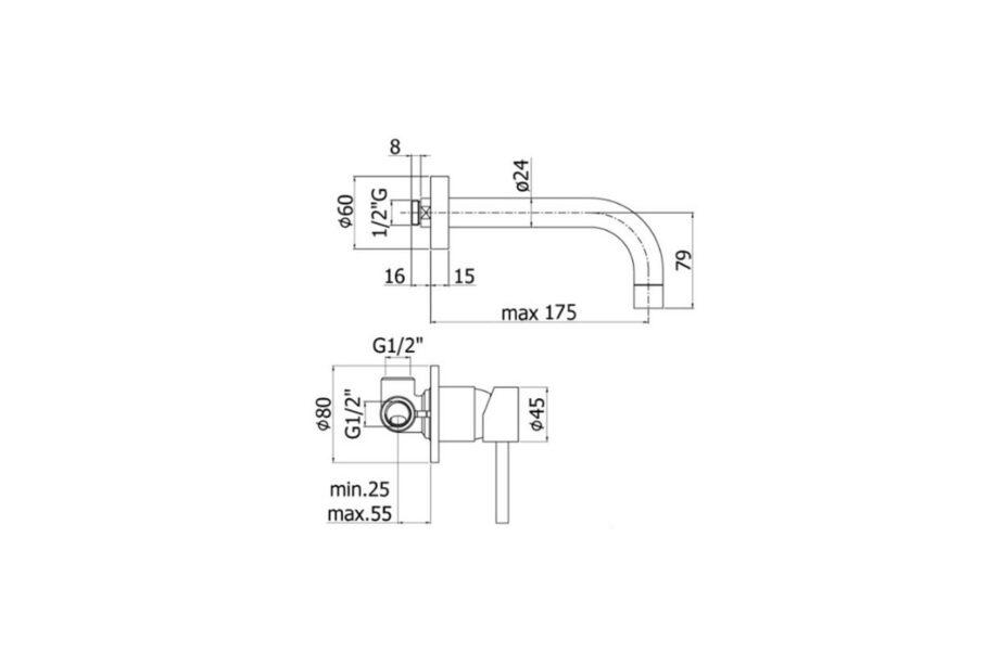 Paffoni Stick 2-gats inbouwmengkraan LIG006CR70 sprong 175 mm chroom
