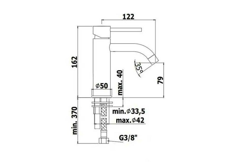 Paffoni light wastafel mengkraan mat zwart sprong 122 mm LIG071NO