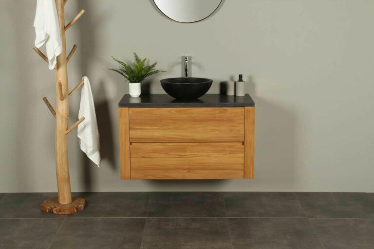 Teak badkamermeubel 100 cm hardstenen blad Batur