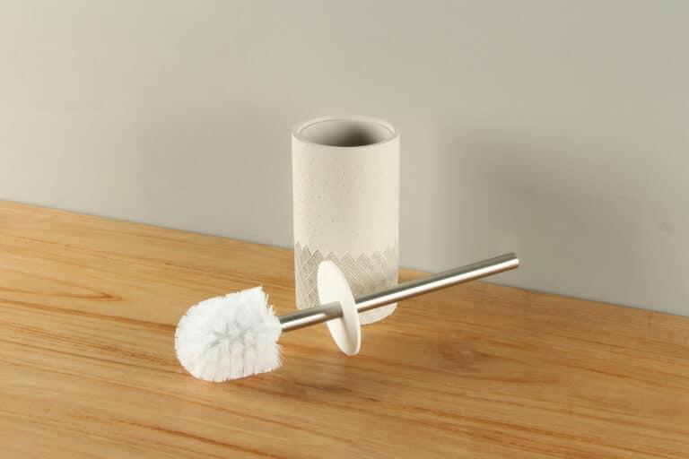 Toiletborstelhouder mat crème stippen ruit polyresin BE-AT002