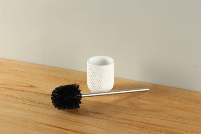 Toiletborstelhouder mat wit stippen polyresin BE-AT001