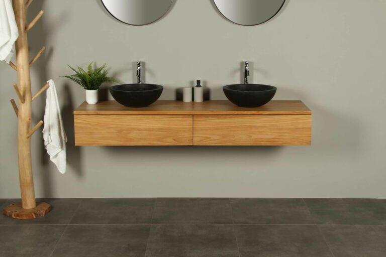 Zwevende teak badkamerkast met laden Talang 170 cm