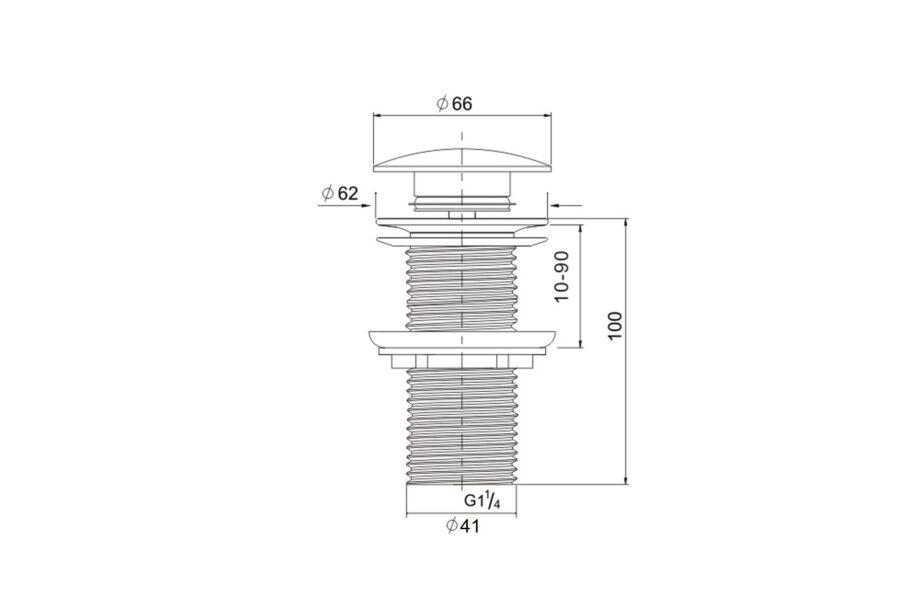 Lange afvoerplug clickwaste BE-I100 B matt black afsluitbaar 1¼