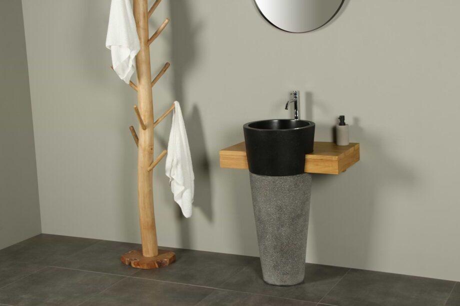 Badkamermeubel hout 70 cm zwarte waszuilen Tambora