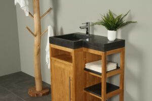 Badkamermeubel hout Kerinci 75 cm hardsteen deur links