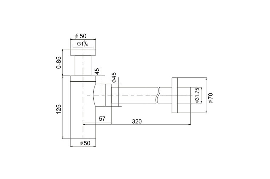 Design sifon chroom 1¼ BE-I200 C
