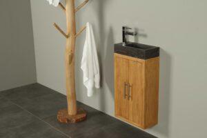 Hangend fonteinmeubel hout 38 cm hardsteen Manuk