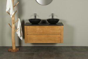 Houten badkamermeubel 120 cm hardstenen blad Batur