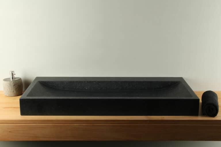 Natuurstenen wasbak basaltsteen 100 cm BAS-003zk
