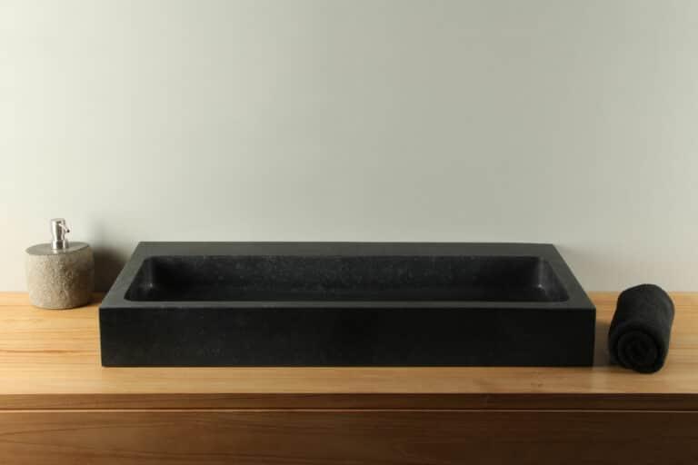 Natuurstenen wasbak basaltsteen  BAS-007zk 80 cm