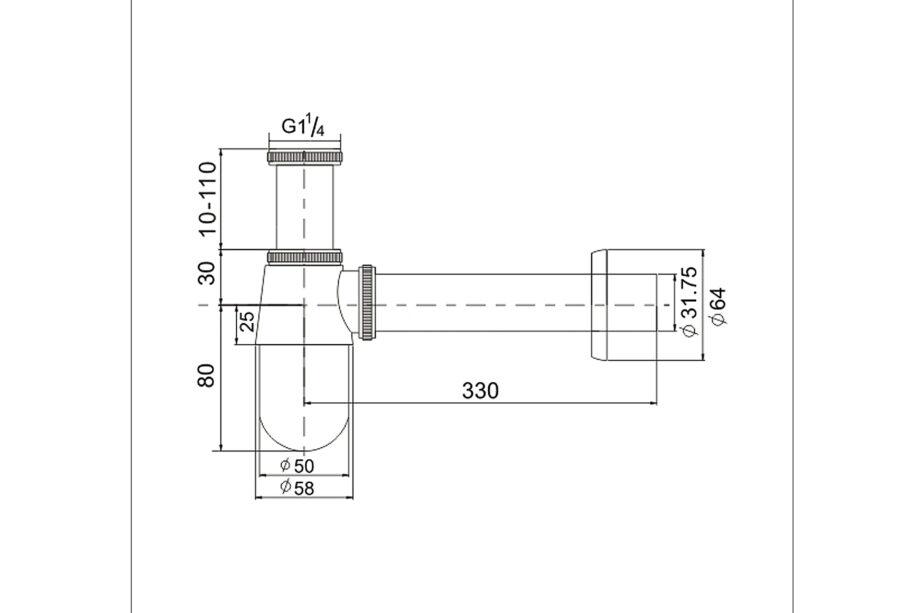 Standaard sifon chroom 1¼ BE-I210