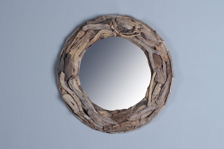 Spiegel drijfhout diameter 60 cm.