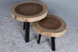 Suarhouten tafel set met zwaar metalen poten