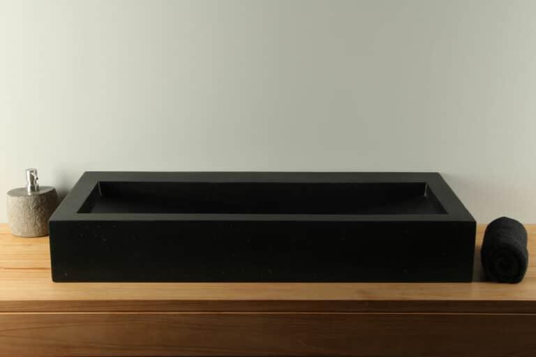 Terrazzo wasbak zwart 90 cm TZS 034Szk