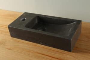 Natuurstenen wasbak hardsteen 38 cm kraangat linkerzijde BE-020mk