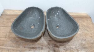 Wasbakken natuursteen kiezel set RM1202 AB