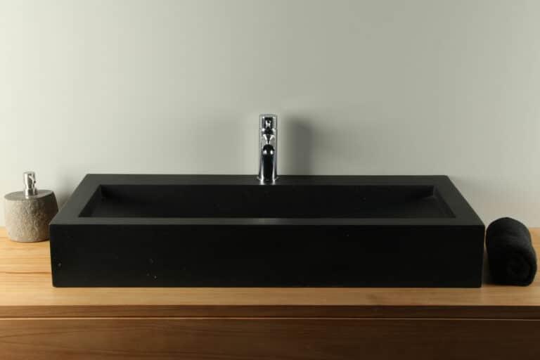 Terrazzo wasbak zwart 90 cm TZS 034S1k