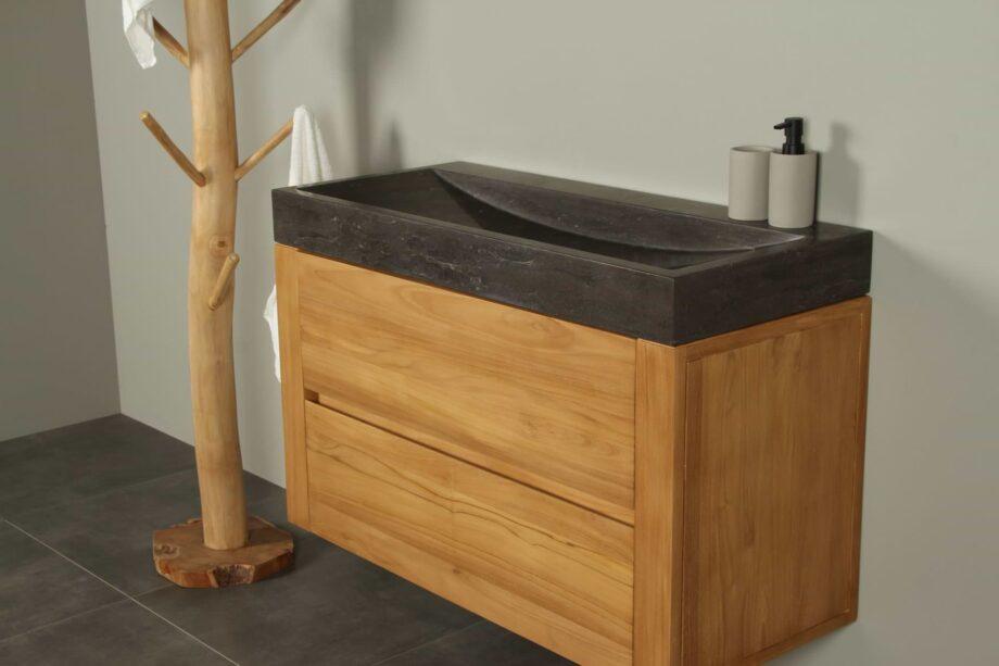 Zwevend badmeubel hout Ambang 100 cm hardsteen zk